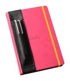 Leather pen holder & stylus holder Quiver for notebooks, Apple iPad Mini cases and other similarly sized tablet cases.