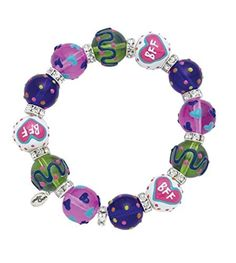 Clementine Design Kate & Macy Best Friends Forever Bracelet Painted Glass Beads Rhinestones by Kate & Macy -- Awesome products selected by Anna Churchill
