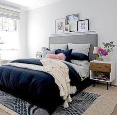 6 Elegant Cool Tips: Minimalist Bedroom Ideas Walk In minimalist bedroom ideas children.Vintage Minimalist Bedroom Grey minimalist home inspiration simple living. Navy Blue Bedrooms, Blue Gray Bedroom, Blush Bedroom, Bedroom Colors, White Bedroom, Modern Bedroom Decor, Cozy Bedroom, Trendy Bedroom, Master Bedroom