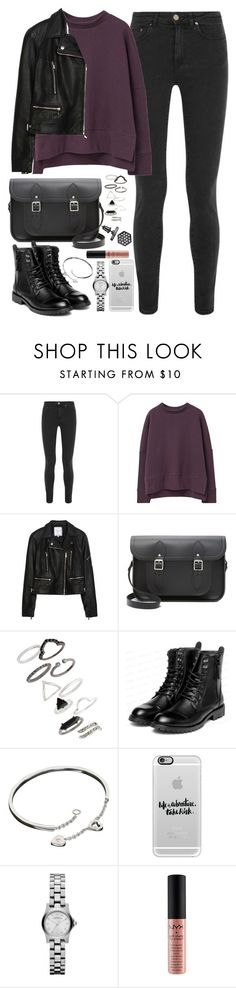 """Outfit for university with a Cambridge Satchel"" by ferned ❤ liked on Polyvore featuring Acne Studios, MANGO, Zara, The Cambridge Satchel Company, Topshop, yeswalker, Cartier, Casetify, Marc by Marc Jacobs and NYX"