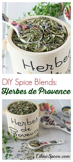 """Make your own herbs de provence or """"herbes de provence"""" for my French friends. A fabulous aromatic blend of herbs and you can make your own custom blend like I do. I prefer oregano, parsley, thyme, tarragon and lavender. You can also add savory, rosemary and marjoram too! Sprinkle some on oven roasted chicken, baked fries, potatoes or salmon. Mix it into your next batch of meatballs. Add some to your next bowl of soup and you won't be disapointed. 