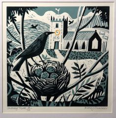Mary Sumner, printmaking, Lino, woodcut, crow, bird, nest, eggs, nature, artwork, print