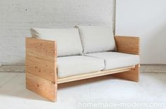 This DIY sofa can be made with basic power tools in less than 5 hours. Modern outdoor sofas can be quite expensive and this project can provide a more afford. Diy Couch, Diy Furniture Couch, Furniture Projects, Furniture Plans, Modern Furniture, Diy Projects, Simple Furniture, Diy Pillows, Handmade Furniture