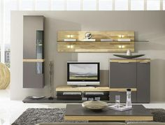Contemporary Casale Wall Storage System Real Wood Details and Optional LED Lighting