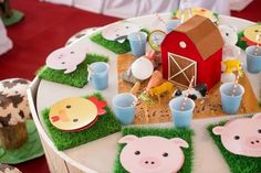 CUTE Farm Barnyard Party full of Ideas via Kara's Party Ideas… Farm Animal Party, Farm Animal Birthday, Farm Birthday, Boy Birthday Parties, Birthday Ideas, Farm Themed Party, Barnyard Party, Farm Party, Kids Party Decorations