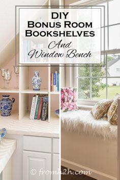 DIY Bonus Room Bookshelves and Window Bench   Have a bonus room that really needs some extra storage? Learn how to make your own DIY Shelves and window bench that fits those angled walls.