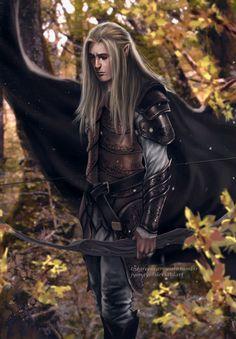 m Wood Elf Ranger Leather Armor Cloak Sword deciduous forest hills farmland Beleg Cuthalion illustration from Tolkien's Silmarillion. Fantasy Heroes, Elves Fantasy, Fantasy Male, Fantasy Warrior, Medieval Fantasy, Fantasy Characters, Tolkien, Lord Of Rings, Male Elf
