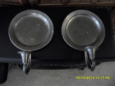 colonial pewter candleholder plate wall sconces