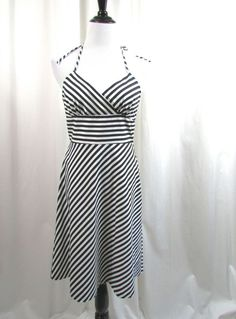 White House Black Market Striped Halter Tie Neck Dress Black White Size 8 Excell #WhiteHouseBlackMarket #Sundress #Casual
