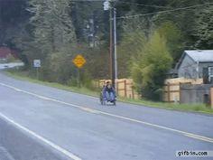 Riding a wheelchair down a steep hill? Seems like a good idea: