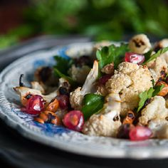 Roasted cauliflower, hazelnut and avocado salad with cinnamon dressing.