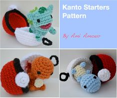 Gotta crochet em all! And with this Pokemon Kanto Starters Amigurumi Crochet Pattern set, you can do so! This amigurumi pattern PDF collection includes patterns for:  1. Charmander 2. Squirtle 3. Bulbasaur 4. Pikachu 5. Pokeball Pod (you can open and close the Pokeball to hold your chibi Pokemon)  This PDF chibi Pokemon amigurumi pattern e-book is fun to follow with plenty of photos and tutorial. If youre interested in the finished plushies, please be sure to take a look in my Etsy shop…