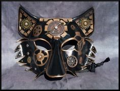 Copper Steampunk Leather Wolf Mask