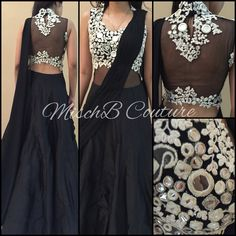 Monochrome Madness by MischB Couture Pakistani Dresses, Indian Dresses, Indian Outfits, India Fashion, Fashion 2017, Indian Lehenga, Lehenga Saree, Sarees, Indian Look