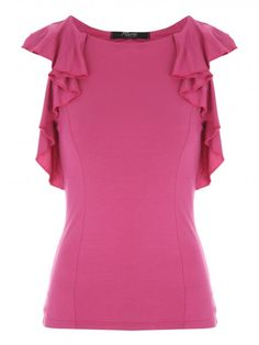Make sure your tops totally on point this season – this hot pink waterfall frill top has that extra bit of detail your outfit needs. In a flattering soft f...