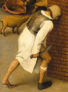 Detail from The Dutch Proverbs, Pieter Bruegel the Elder Proverb: To bang one's head against a brick wall (attempt the impossible) Old Paintings, Watercolor Paintings, Pieter Bruegel The Elder, Pastel Pencils, Dutch Painters, Dutch Artists, Art For Art Sake, Vanitas, Renaissance Art