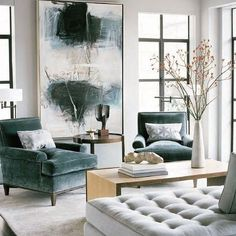 teal home accents Abstract expressionist painting in living room with beautiful teal velvet chairs. Art is one of our top interior design trends for use large artwork to add interest and personality to your home. Home Living Room, Living Room Designs, Living Spaces, Living Area, Small Living, Living Room Artwork, Diy Interior Design Living Room, Room And Board Living Room, Art Deco Living Room