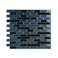 Smart Tiles 9.13 in. x 10.25 in. Muretto Nero Mosaik Decorative Wall Tile-SM1039-1 at The Home Depot