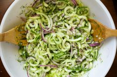 Spiralized Cucumber Dill Salad. This sounds refreshing on these hot summer days.