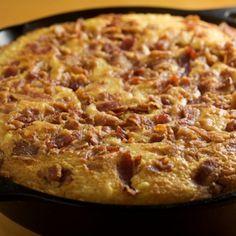 Skillet Corn Bread with Fresh Cut Corn and Bacon Recipe