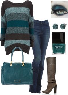I love the Skinny/Bootleg jeans with high heel boots and fabulous sweater/purse combonation. I love this style.