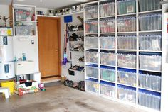 Smart Garage storage. Love the short shelf for paint gallons. Love the clear totes built in. It all makes sense!