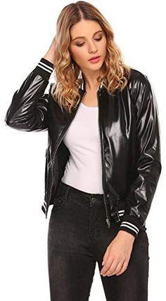 6044cbf88e6 Beautiful OD lover Women s Faux Leather Jacket Short Warm Baseball Bomber  Jacket Coat Fall Winter