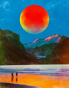 The Moon At The River Art Print by seamless Arte Complexa, Collage Mural, Kairo, Arte Sketchbook, Retro Futurism, Retro Art, Surreal Art, Surreal Collage, Psychedelic Art