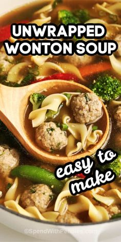 This Unwrapped Wonton Soup recipe is quick & easy. Use pork, chicken, or beef for the mini meatballs, or add shrimp! Fun Easy Recipes, Asian Recipes, Healthy Recipes, Soup Recipes, Cooking Recipes, Water Recipes, Grilling Recipes, Steak Dinner Sides, Asian Soup