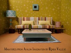 1:6th Scale Barbie, Blythe, etc. Miniature dollhouse Sofa and pillows upholstered in striped fabric