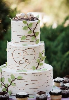 This rustic-looking wedding cake resembles a birch tree with the couple's initials carved in it