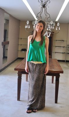 Green Blouse and Leopard maxi skirt