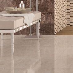 Sadya Marble Effect Cream Floor Tiles in Bathroom