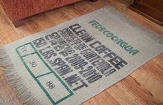 So many uses for recycled burlap. Here's a door mat!