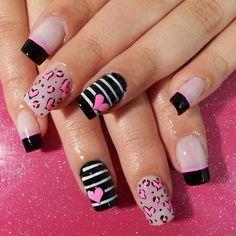 Uñas Purple Nail Art, Pink Nails, Love Nails, Pretty Nails, Nail Art Printer, Valentine Nail Art, Dry Nails, Girls Nails, Beautiful Nail Designs