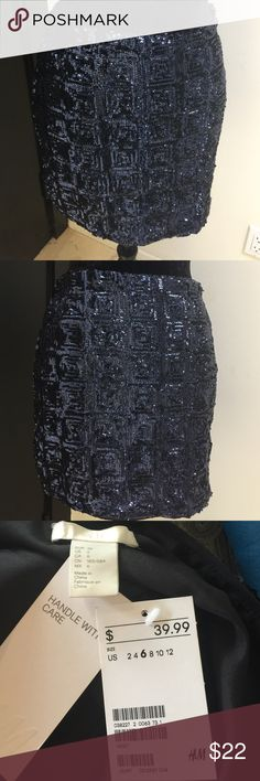 H&M blue and black sequin mini skirt. H&M blue and black sequin mini skirt. Size 6. Still can get to you in time for upcoming holiday parties or New Years Eve🎉. Never worn NWT H&M Skirts Mini