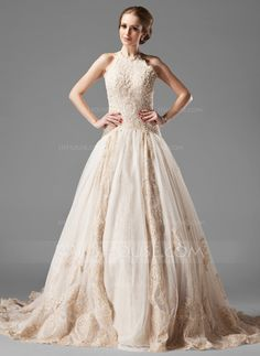 A-Line/Princess Halter Chapel Train Satin Tulle Wedding Dress With Lace Beading (002000154) - JJsHouse