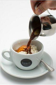 Affogato... a shot of espresso over a scoop of vanilla icecream.