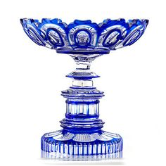 Antique Bohemian Royal Blue Overlay Cut to Clear Crystal Glass Bowl on Pedestal   35000