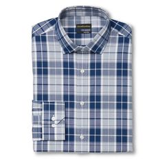 Men's Slim Fit Premium Non-Iron Plaid Dress Shirt Navy - City of London