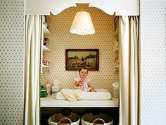 This is an amazing idea for a small room for a baby- take off closet doors- add curtains and built ins!
