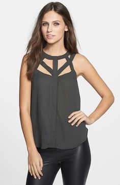 ASTR Cutout Woven Tank | Nordstrom (NOTE: tops with interesting/unique necklines again for the win)
