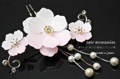 japan move kanzashi Hairpin pink Sakura Pearl wedding kimono Japanese dress