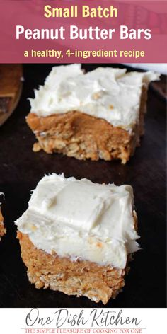 No Bake Peanut Butter Bars Recipe - Small Batch - One Dish Kitchen Trifle Desserts, Great Desserts, Party Desserts, Dessert Bars, Delicious Desserts, Dessert Recipes, Small Desserts, Healthier Desserts, Baking Desserts