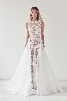 Allure Gown with silk organza overskirt by Suzanne Harward from the Illuminati Collection