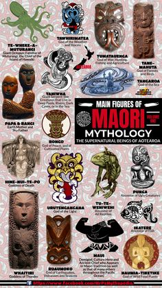 The gods, goddesses, monsters and heroes of the Maori, Volume One... #Maori #Aeotearoa #MaoriGods #MaoriMythology #NewZealand #Mythology #Infographic #MrPsMythopedia