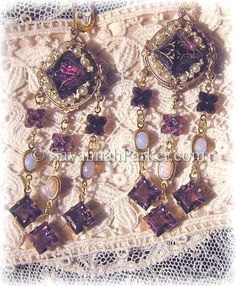 Antique Style Victorian Edwardian Renaissance Earrings - Purple Amethyst Etched Vintage Glass by savannahparker.com