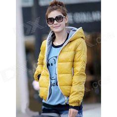 BNY-244266 Casaco casual quente com capuz à prova de frio para Mulher - Amarelo (tamanho livre)