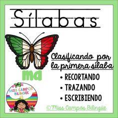 Clasificando Silabas. Se enfoca en las silabas inciales. Ideal para el reconocimiento fonologico al nivel preescolar o kinder bilingue. Spanish Syllables, First Syllable Identification