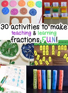 MAKE LEARNING & TEACHING FRACTIONS FUN WITH THESE 30 HANDS-ON TIPS AND GAMES! Teaching Fractions, Teaching Math, Fraction Activities, Activity Games, About Me Blog, Learning, School, Fun, How To Make